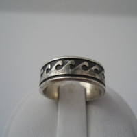 Sterling Silver 925 Eternity Waves Ring Size 6 Mexico 925