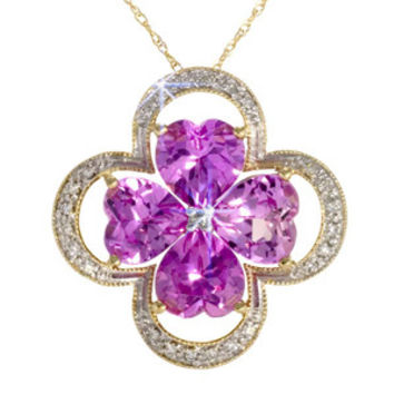 6 1/2 Carat Pink Topaz Diamond Yellow Gold Heart Clover Pendant Necklace Chain: Necklace