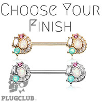 "Sparkle Opal Medley Nipple Barbell Ring 5/16"" 3/8"" 1/2"" 5/8"" NOW AVAILABLE LENGTHS"