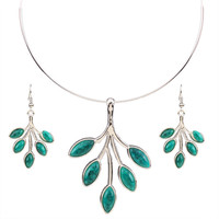 African Costume Jewelry Set Torque Stering Silver Pretty Flower Pendant Necklace& Earrings TL9136