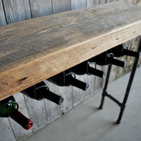 "3 ft Reclaimed Wood Wine Bar and Rack/Console Table with Pipe Legs and Thick 2.5"" Top (36""L x 11.5""w x 35""h)"