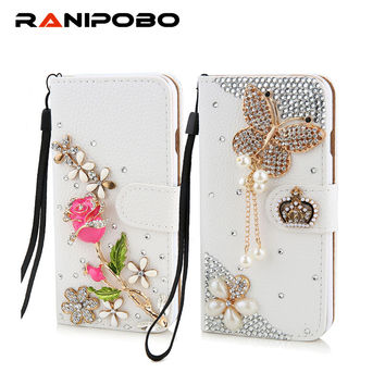 Luxury Rhinestone Crystal rose flower Wallet Bling Case Cover Diamond Cover for iphone 5 5s 6 6plus