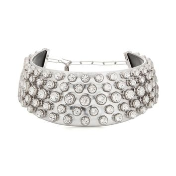 Crystal-embellished metallic leather choker with silver