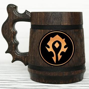 Warcraft Horde Mug World Of Warcraft Mug Horde Gift. Personalized WOW Gift. Custom Gamer Gift World Of Warcraft Gifts Custom Beer Steins Wooden Beer Mug #69 / 0.6L / 22 ounces
