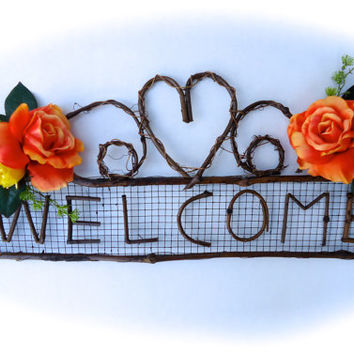 Rustic Silk Floral Swag - Rustic Welcome Swag, Grapevine Swag, Floral Wall Hanging, Door Decor