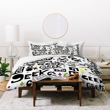 Andi Bird Geek Words Duvet Cover