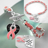Breast Cancer Awareness ~ Bracelet Pink Ribbon w/Suede