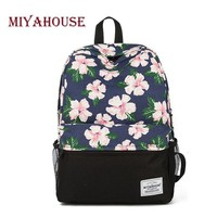Miyahouse Unique Printing Backpack Women Floral Bookbags Canvas Backpack School Bag For Girls Rucksack Female Travel Backpack