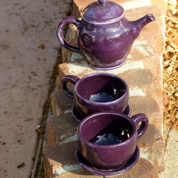 Purple Tea Set - Hand-thrown Stoneware Pottery - ceramic tea pot and two tea cups and two saucers