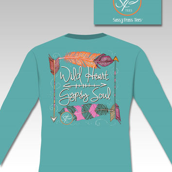 Sassy Frass Comfort Colors Wild Heart Gypsy Soul Feathers Arrow Long Sleeve Bright Girlie T Shirt