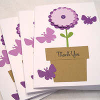Thank You Cards Purple Flower and Butterflies Whimsical Thank You Notes Blank Inside - Set of 4 Free Shipping