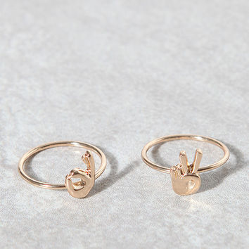 LA Hearts Emoji Ring Set at PacSun.com
