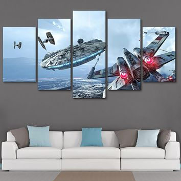 Framework HD Home Poster Decoration Printed Picture Painting Wall Art Modular 5 Panel Star Wars Movie Modern Canvas Living Room