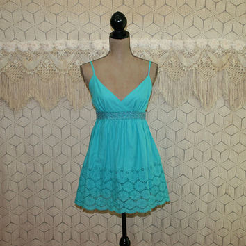Sleeveless Babydoll Top Aqua Turquoise Cotton Boho Summer Top Empire Waist Beaded Eyelet Blouse V Neck Spaghetti Strap Womens Clothing