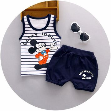 New 1 2 3 years old baby clothing set cotton material o-neck with little mouse printed fashion boys clothes vest suit A059