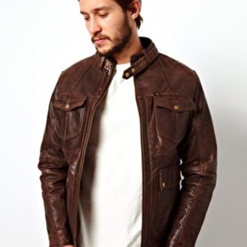 Lee | Lee Leather Jacket Zip Biker Quilted Lining at ASOS