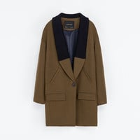 COAT WITH KNITTED LAPEL - Coats - Woman | ZARA United States