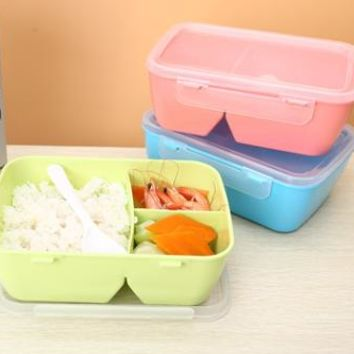 Urijk Solid PP Compartments With Bento 3 Box Food Container Microwave Kitchen Tableware Student Portable Dinnerware Sets