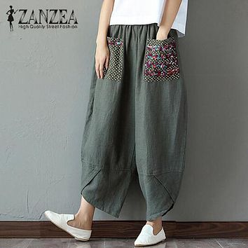 ZANZEA Summer Casual Loose Long Trousers Baggy Pantalon Women Elastic Waist Retro Print Linen Cotton Harem Pants Plus Size