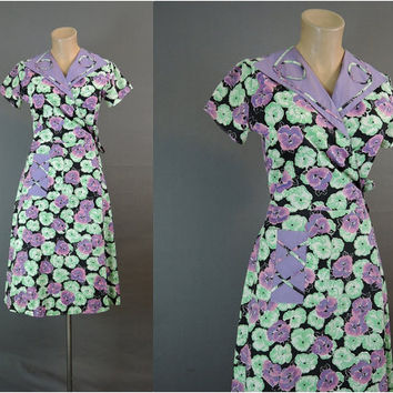 1940s Floral Wrap Dress, fits 34 inch bust, Vintage 40s Cotton Day Dress or Housecoat, Black, Purple, Green
