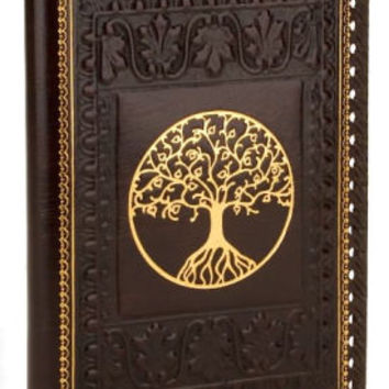 Tree of Life Brown Gold Stitched Italian Lined Leather Refillable Journal (6.5