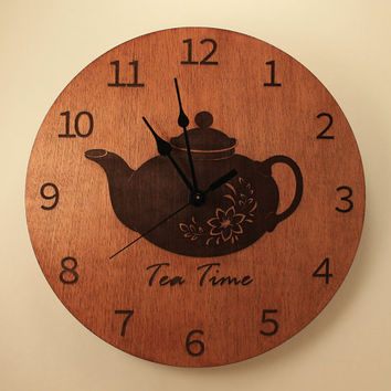 Teapot laser cut clock Tea time Wood clock Wall clock Wooden wall clock Home clock Kitchen clock Flower decor Mother's Day gift