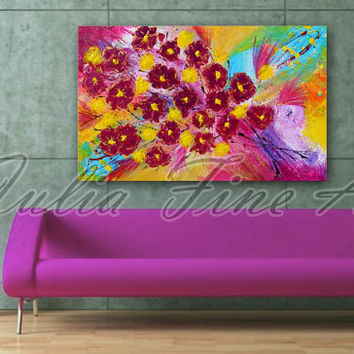 Abstract Painting, Original, Floral, Flowers, Purple, Green, Turquoise, Yellow, Rainbow Colors, Ready To Hang, Large, Zen, Free Shipping