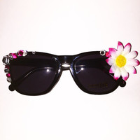 Flower decorated edm or music festival sunglasses