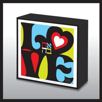 Pop Art Love Decorated Wood Panel