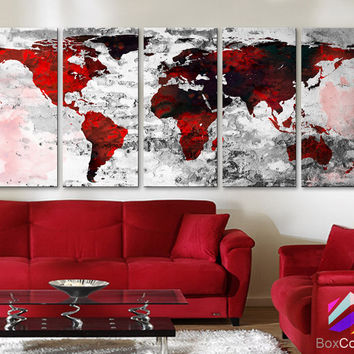 """XLARGE 30""""x 70"""" 5 Panels 30""""x14"""" Ea Art Canvas Print Watercolor Texture Map Old brick Wall color red black white decor Home interior (framed 1.5"""" depth)"""