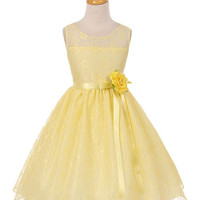 Open Back Lace Flower Girl Dress with Satin Sash