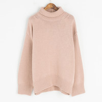 Lambs Wool Half Turtle Chunky Jumper, Pink