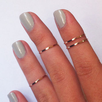 4 Above the Knuckle Rings - rose gold copper filled thin shiny bands - set of 4 stackable