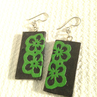 Black Green Handmade Hanji Paper Dangle Earrings Flower Design Hypoallergenic hooks Lightweight Ear rings