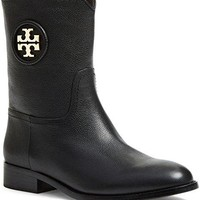 Tory Burch 31424 001 'Hallie' Mid Shaft Bootie - Tumbled Leather/Nappa Leather Size 6 (Women)
