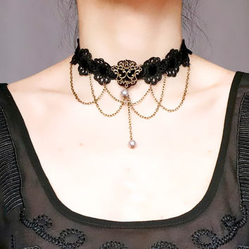 black lace choker necklace // bronze chain tassel // grey pearl charm beaded // vintage steampunk gothic // victorian retro Unique gift