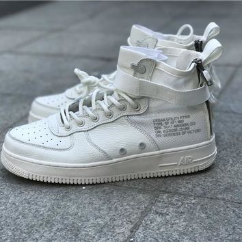 LMFON Nike Air Force 1 SF-AF1 Mid  White For Women Men Running Sport Casual Shoes Sneakers