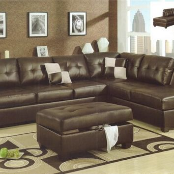 2 pc Reversible Espresso bonded leather match sectional sofa with chaise lounge