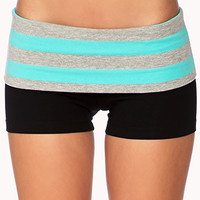 Striped Foldover Yoga Shorts | FOREVER 21 - 2000051652