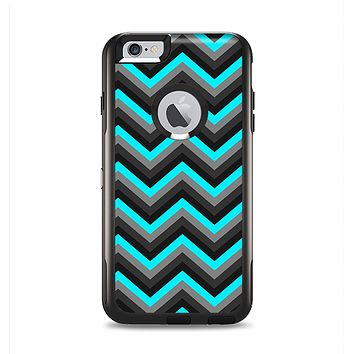 The Turquoise-Black-Gray Chevron Pattern Apple iPhone 6 Plus Otterbox Commuter Case Skin Set