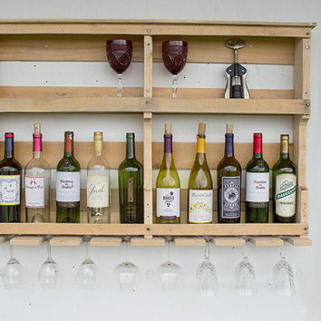 Pallet Wine Rack - Rustic Wood Wine Rack - Reclaimed Pallet Wine Rack - Wall Wine Rack - Wine Storage - Wood Wine Rack - Reclaimed Wood