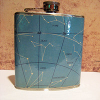 6 oz Stainless Steel Flask Constellations Space by HarmlessHabit
