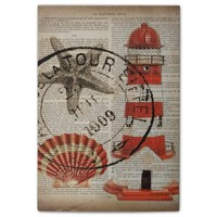 shabby chic vintage lighthouse sea shells post-it® notes