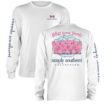 Simply Southern Preppy Pig Bless Your Heart Long Sleeve T-Shirt