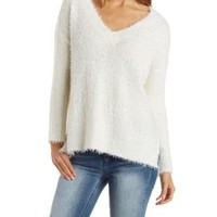 Ivory Fuzzy V-Neck Sweater with Side Slits by Charlotte Russe
