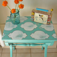 Stenciled Side Table Painted In Aqua