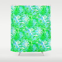 Ocean of Flowers Shower Curtain by RokinRonda