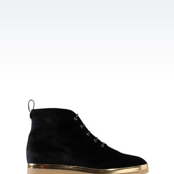 Emporio Armani Women Ankle Boots - HALF BOOT IN VELVET Emporio Armani Official Online Store