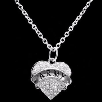 Crystal Army Heart Soldier Wife Mom Grandma Daughter Gift Charm Necklace