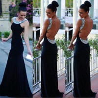 New 2017 Long Sexy Dresses Party Ball Prom Gown Black Formal Sleeveless Backless Dress For Womens Clothing